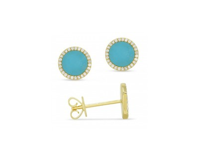 Cropped product listing blue turquoise earrings with diamonds