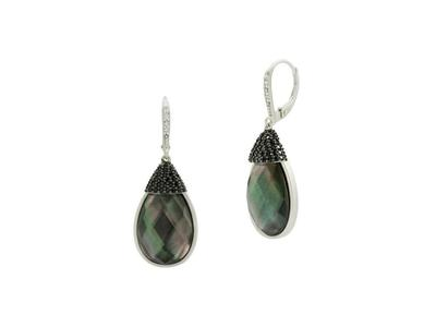 Cropped product listing grey mother of pearl and pave leverback earrings