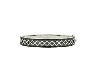 Cropped product listing criss cross and pave hinge bangle