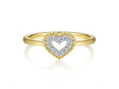 Cropped product listing 14k yellow gold diamond pave open heart ring