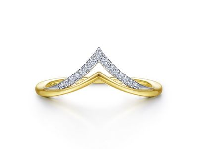Cropped product listing 14k white yellow gold curved double row diamond v ring