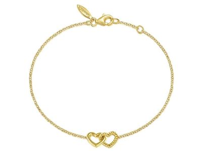 Cropped product listing 14k yellow gold chain bracelet with entwined hearts