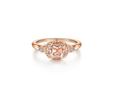 Cropped product listing horizontal oval morganite and diamond three stone ring