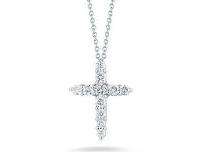 Cropped product listing 18k white gold tiny treasures diamond cross pendant necklace