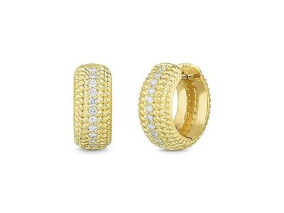 Cropped product listing 18k opera textured snap hoop earrings with diamonds