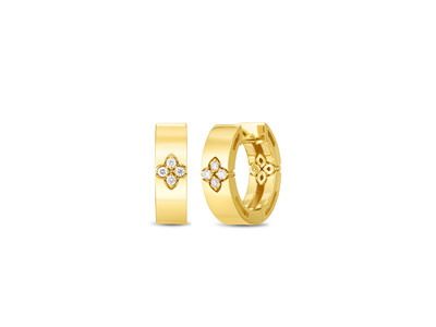 Cropped product listing love in verona small hoop earring with diamond accent