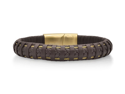 Cropped product listing brown leather wrapped bracelet with yellow clasp