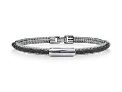 Cropped product listing grey cable black leather bracelet with slim steel station
