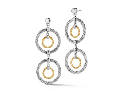 Cropped product listing yellow grey cable double drop earrings with 18kt white gold