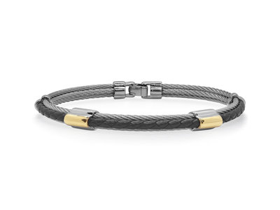 Cropped product listing grey cable black leather bracelet with dual yellow steel stations