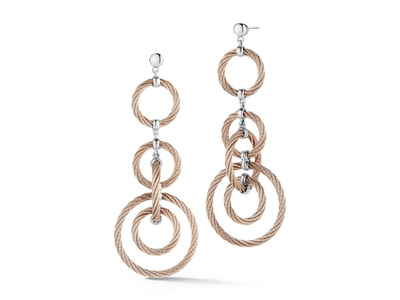 Cropped product listing carnation cable encompassed earrings with 18kt white gold