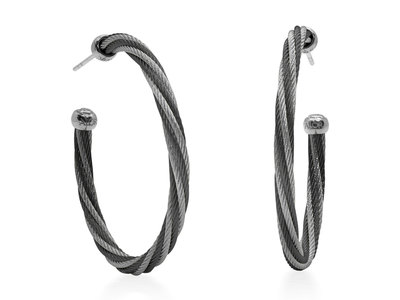 Cropped product listing black grey twisted cable 1 5 hoop earrings with 18kt white gold