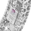 Cropped princess satin finish slim bangle with fleur de lis diamonds